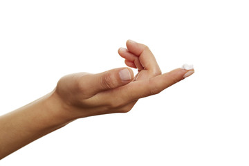 offene Hand mit Creme auf dem Finger