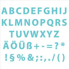 Alphabet groß editierbare Text mit Grafikstile Stempel Petrole