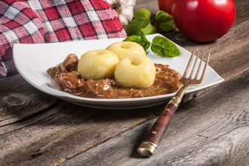 Dumplings with pork sauce.Selective focus.