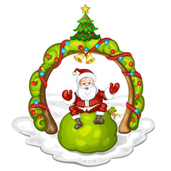 Cartoon Santa Claus smiling and sitting on bag