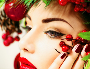 Christmas holiday makeup. Beauty woman face closeup