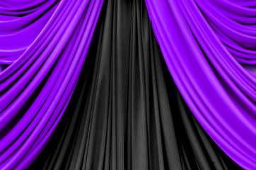 purple and black curtain on stage