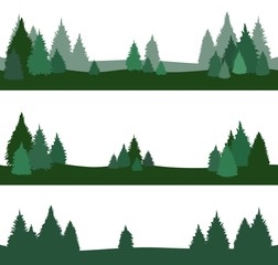 green landscape with fir trees