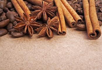 Anise, coffee beans and cinnamon sticks