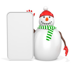 3d snowman with big blank banner