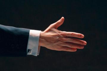 A businessman's handshake, side-view