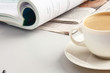 Cup of coffee near press
