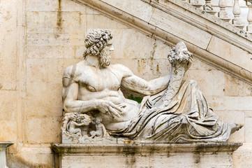 Ancient Roman allegory of Tiber River. Piazza del Campidoglio, P