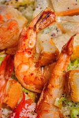 Fried big red shrimp
