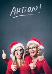 Aktionsplakat mit Weihnachtsfrauen - Santagirl 10_2
