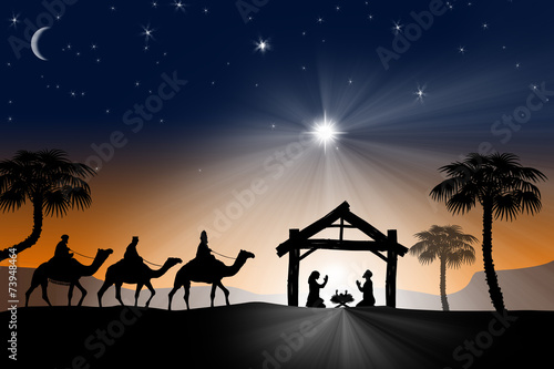 Leinwandbild Motiv Traditional Christian Christmas Nativity scene with the three wi