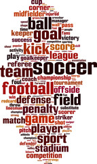 Soccer word cloud concept. Vector illustration