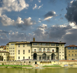 River Arno and Uffizi Gallery Museum in Florence, Tuscany, Italy