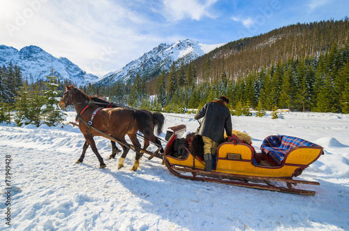 Horse sleigh to Morskie Oko lake in winter, Tatra Mountains - 73949428