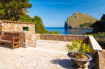 Terrace with sea view in Sa Calobra, Majorca island, Spain