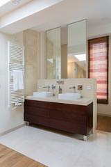 Two washbasins in bathroom