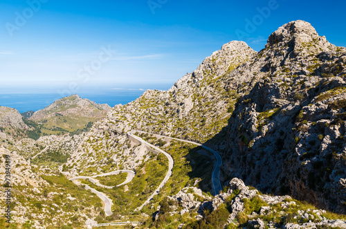 Scenic mountain road to village of Sa Calobra, Majorca island - 73949619