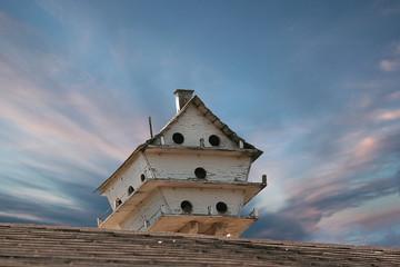 Multi Level Bird House Under a Beautiful Sky