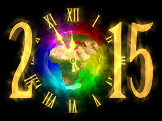 Cosmic clock and numbers 2015. Happy new year 2015.