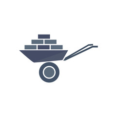 Icon of wheelbarrow with bricks