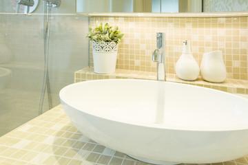Washbasin in beige luxury toilet