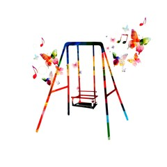 Colorful swing design with butterflies