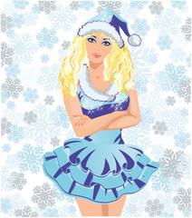 Beautiful sexy Santa girl, vector illustration