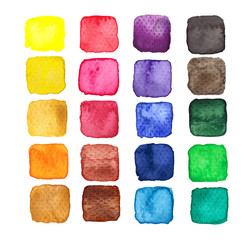 Set of multicolored watercolor squares