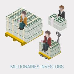 Flat 3d isometric billionaire, oligarch, rich man, millionaire
