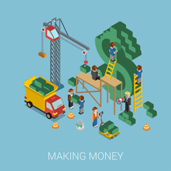 Flat 3d isometric making money $ web infographic concept