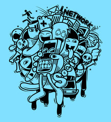 Doodle style with Social network concept.