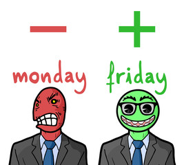 Monday and Friday reactions