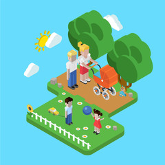 Family parenting people concept flat 3d isometric parents kids