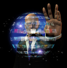 Man and video sphere