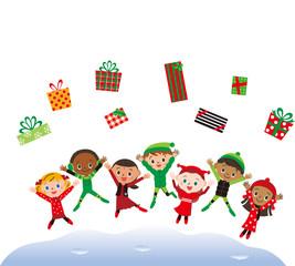 クリスマスプレゼントとジャンプする子供達