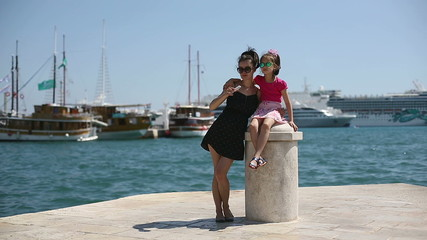 Mother and daughter photographed in Croatia