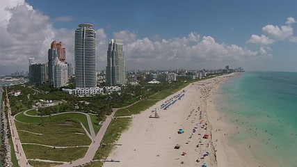 Miami Beach Florida aerial view of Southernmost tip