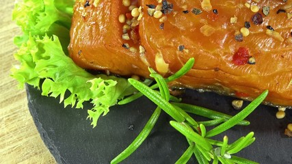 Portion of Salmon Fillet (not loopable 4K UHD footage)