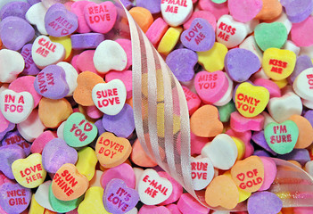 valentine candy hearts with ribbon