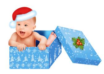 Рождественский малыш в подарочной коробке