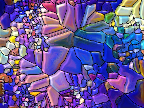 Foto Spatwand Glas In Lood Visualization of Digital Stained Glass