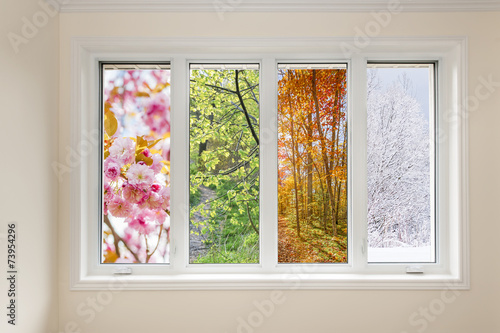 Window view of four seasons - 73954296