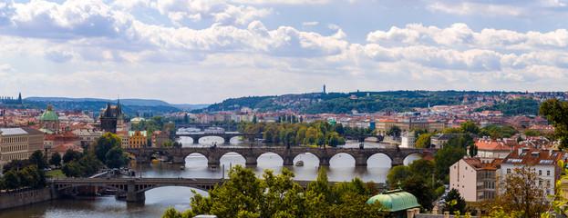 Bridge and rooftops of Prague