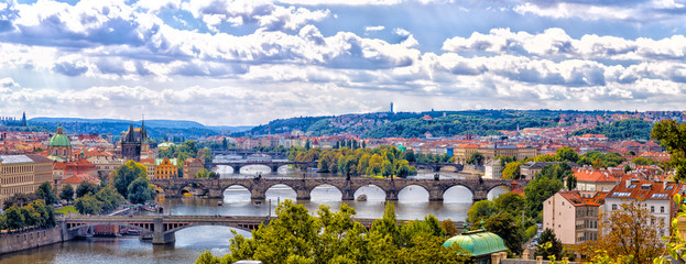 Bridge and rooftops of Prague