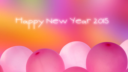word happy new year with pink balloons on colorful background