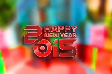 New Year 2015 test design with blur background