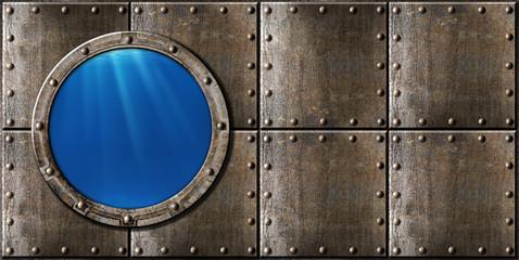 submarine porthole steam punk metal background