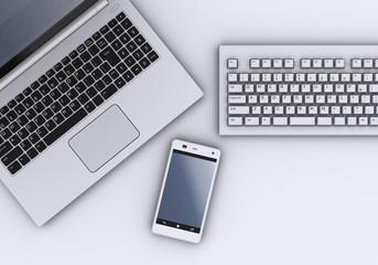スマートフォン、ノートPCとキーボード