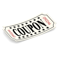 Coupon ticket on white background