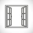 windows-half open window vector - 73957603